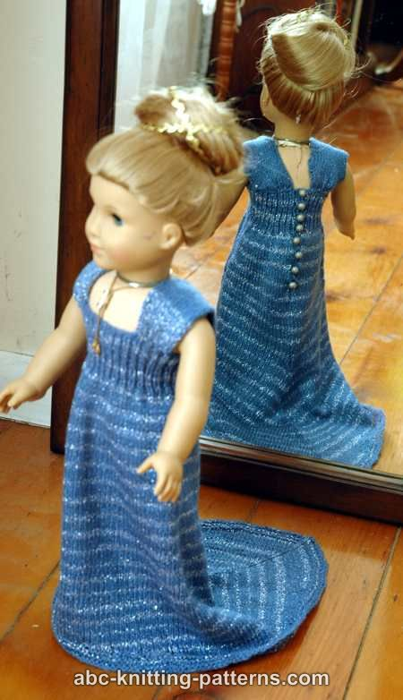 Abc Knitting Patterns For American Doll : ABC Knitting Patterns - American Girl Doll Evening Dress with Train
