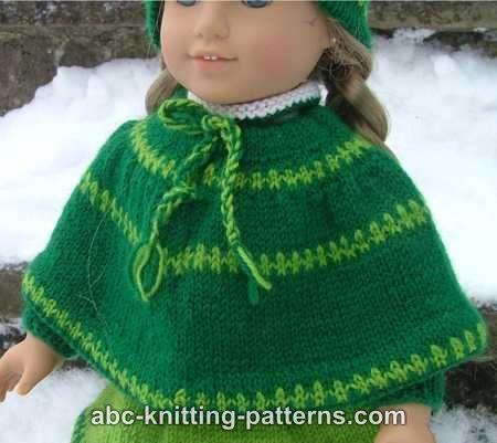 Caroling Cape Knitting Pattern : ABC Knitting Patterns - American Girl Doll Christmas Carol Outfit (Skirt, Cap...