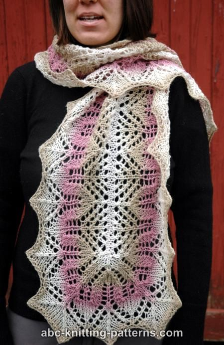 Knitting A Scarf How Many Stitches To Cast On : ABC Knitting Patterns - Rose Garden Lace Scarf