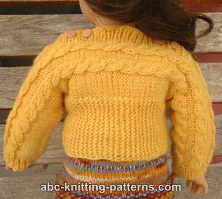 ABC Knitting Patterns - American Girl Doll Cuff-to-Cuff Cable Sweater.