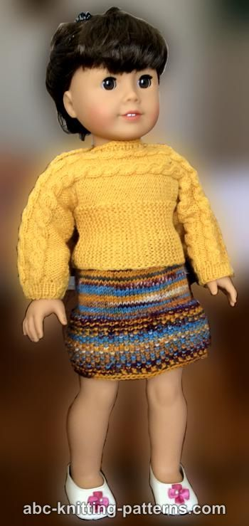 ABC Knitting Patterns - American Girl Doll Seed Stitch Skirt