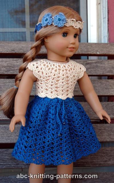 Knitting Pattern For American Girl Doll Skirt : ABC Knitting Patterns - American Girl Doll Seashell Summer Skirt