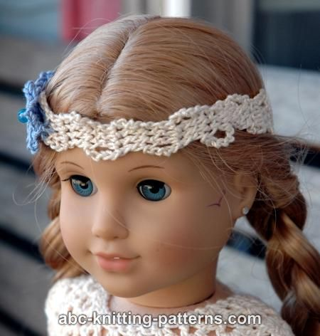 Abc Knitting Patterns American Girl Doll Flower Headband