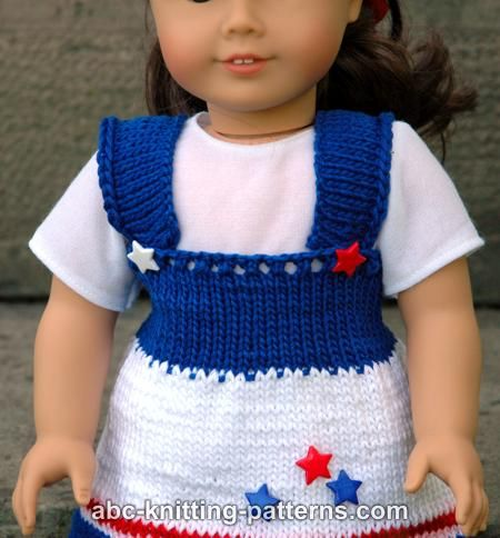 Knitting Pattern For Dolls Jumper : ABC Knitting Patterns - American Girl Doll 4th of July Jumper