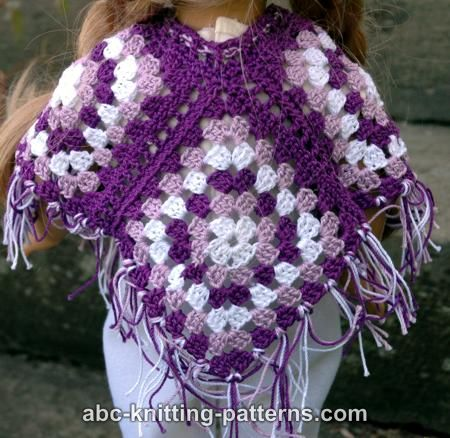 ABC Knitting Patterns - American Girl Doll Granny Square Poncho