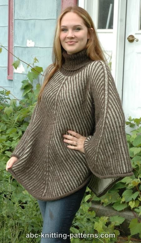 ABC Knitting Patterns - Reversible Brioche Poncho