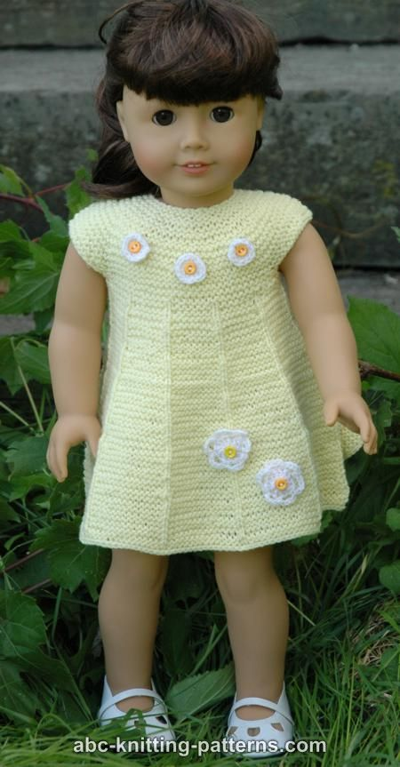 Abc Knitting Patterns For American Doll : ABC Knitting Patterns - American Girl Doll Garter Stitch Summer Dress