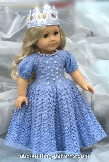 Abc Knitting Patterns American Girl Doll Snow Princess Dress