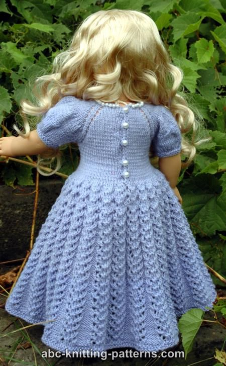 Free Knitting Pattern Dolls Jumper : ABC Knitting Patterns - American Girl Doll Snow Princess Dress