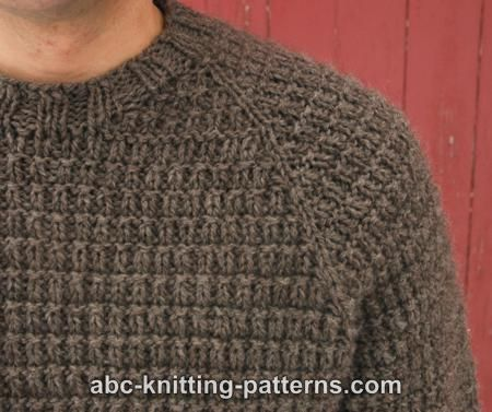 Knitting Patterns For Men s Sweaters : ABC Knitting Patterns - Men s Raglan Woodsman Sweater