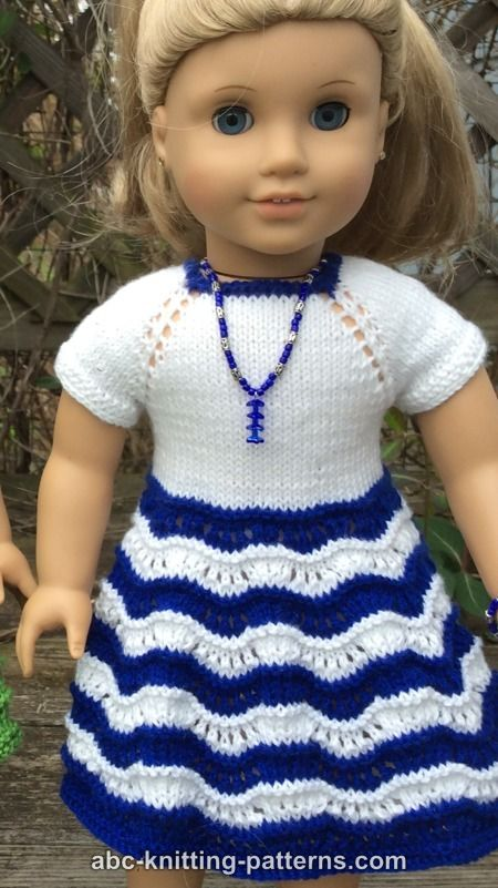 Abc Knitting Patterns For American Doll : ABC Knitting Patterns - American Girl Doll Ocean Waves Summer Dress
