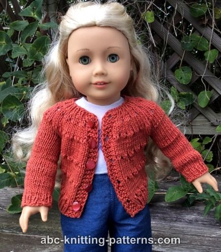 ABC Knitting Patterns - American Girl Doll Country Style Autumn Cardigan