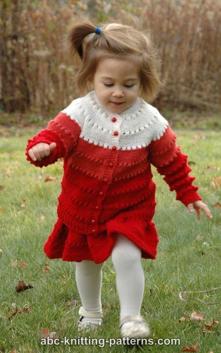 Abc Knitting Patterns Sweetheart Childs Eyelet Cardigan
