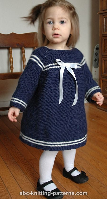 ABC Knitting Patterns - Child's Easy Sailor Dress