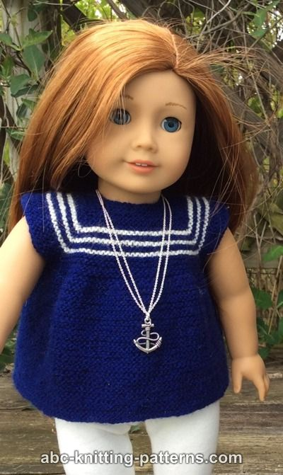 Abc Knitting Patterns American Girl Doll Sailor Dress Or