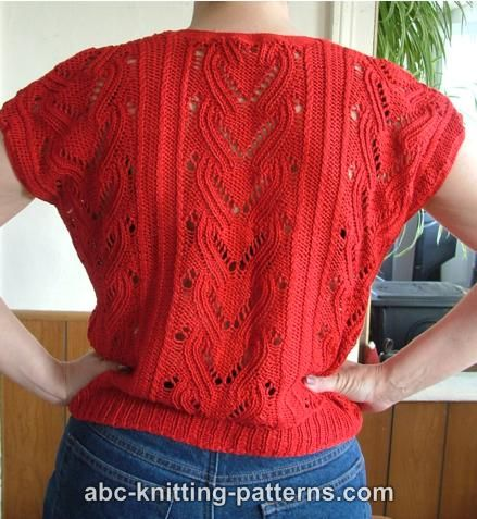 ABC Knitting Patterns - Knitted Red Summer Top